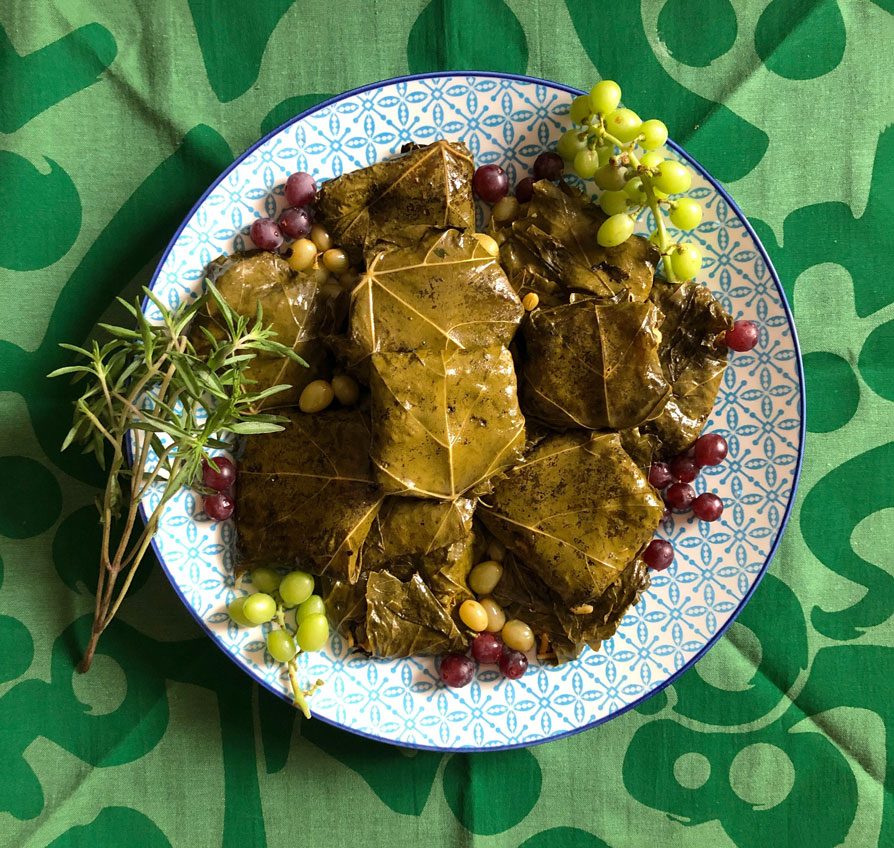 Persian Dolma Stuffed Grape Leaves Vegetarian Style Fig Quince
